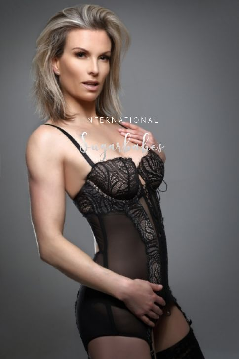 British mature Penny in black lingerie